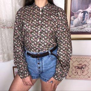 Vintage Floral Grandad Collar Button Down Lizwear
